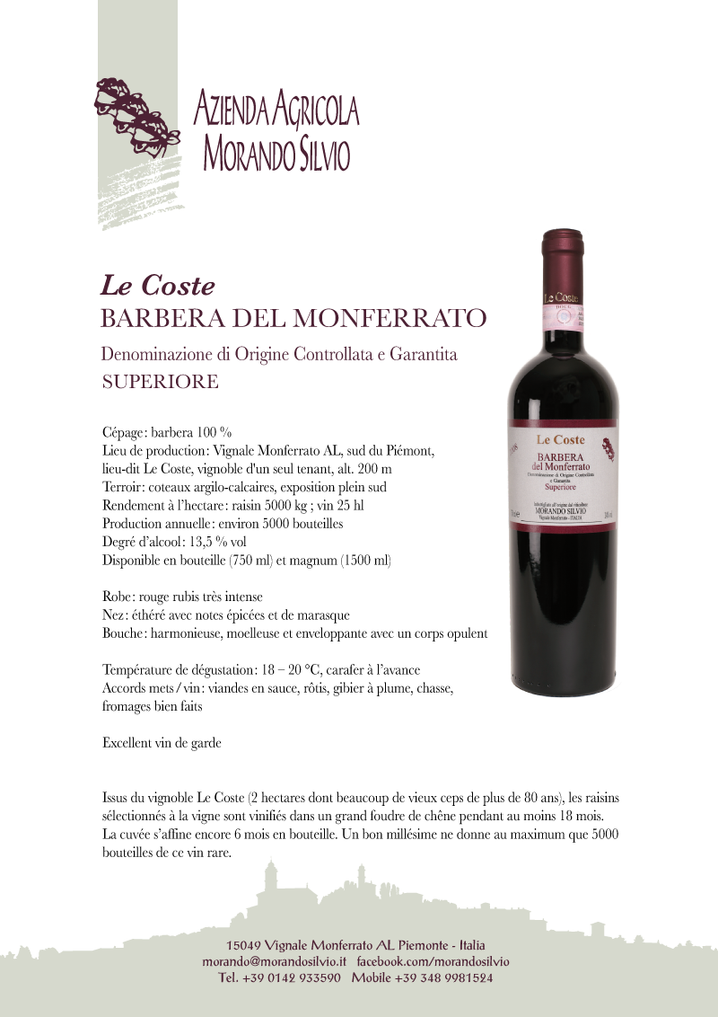 Barbera del Monferrato Le Coste fiche technique