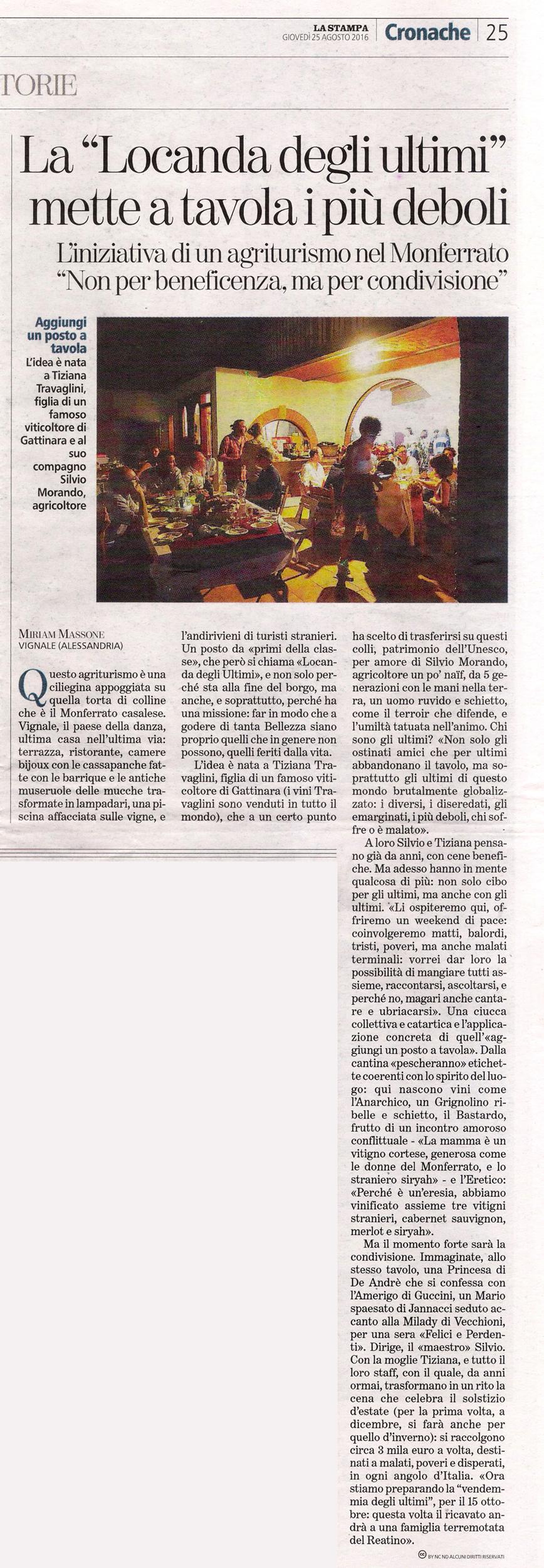 articolo della Stampa sulla Locanda degli Ultimi